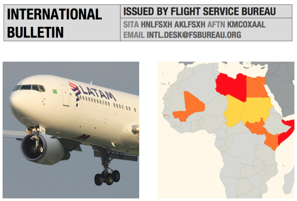 International Bulletin: B767 shot on approach to Rio, Updated SafeAirspace Map