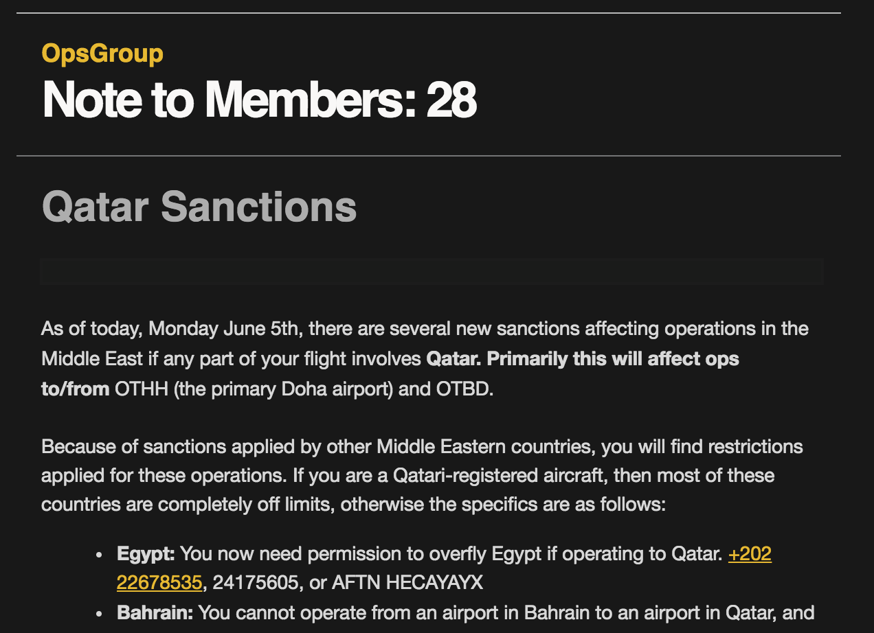 Members Note 28: Qatar Sanctions
