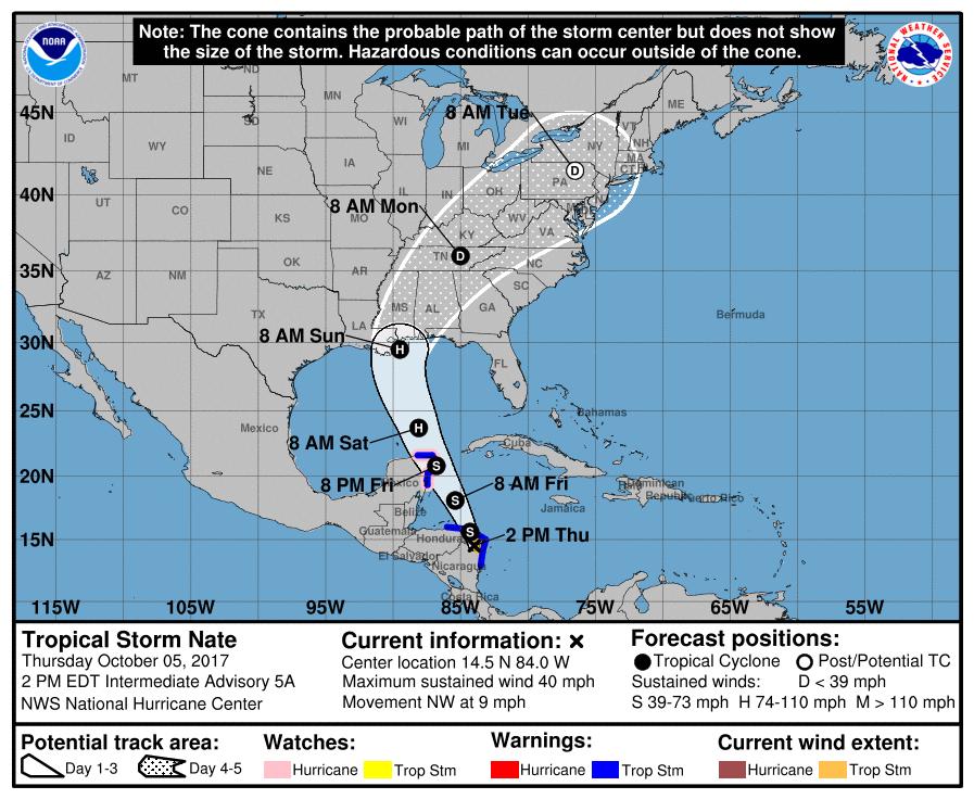 Tropical Storm Nate headed for U.S. Gulf Coast