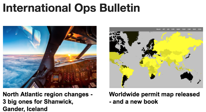 23Nov: NAT changes in 2 weeks, new Overflight Permit map, airspace update