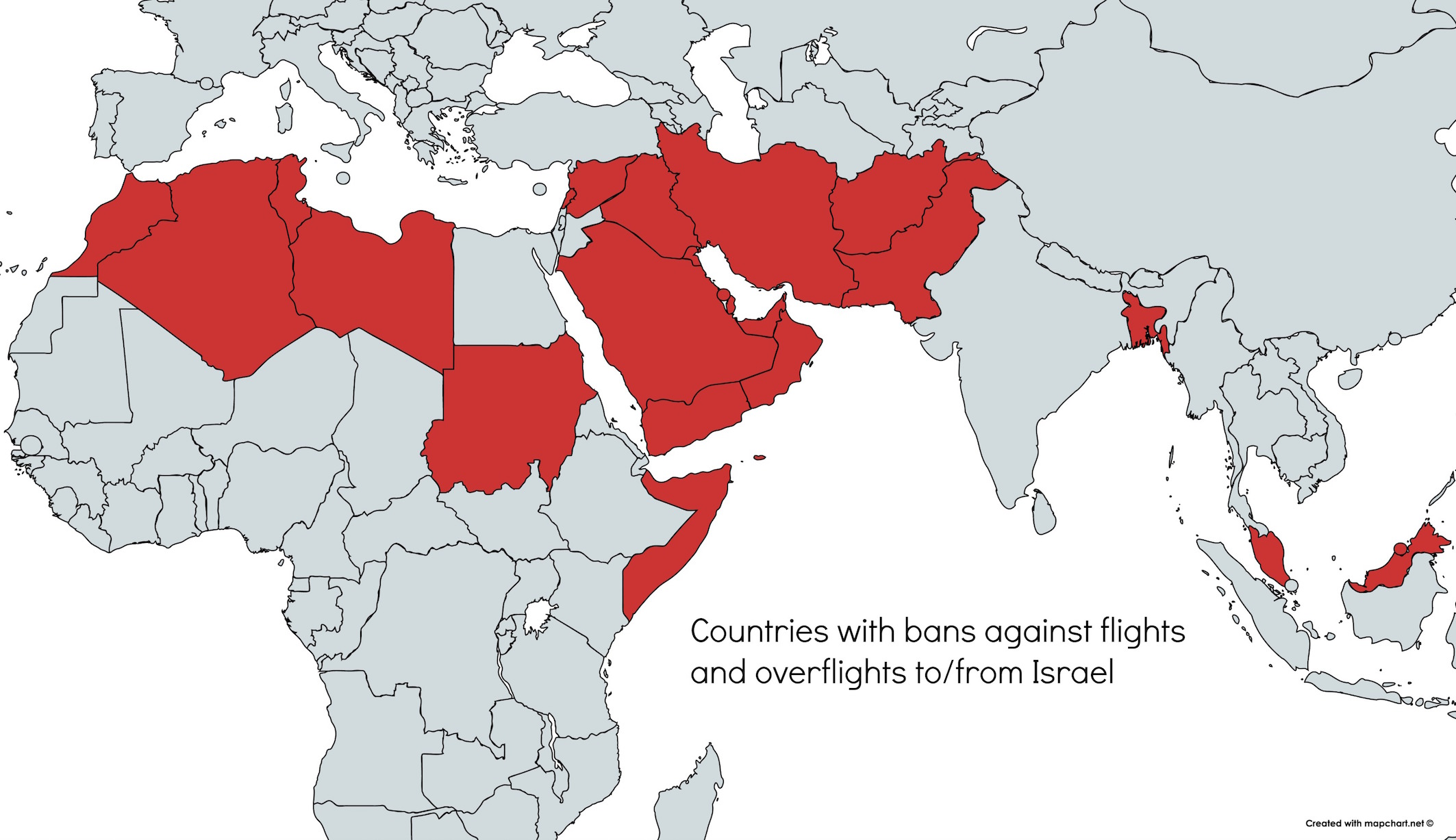 Countries with bans on flights to Israel