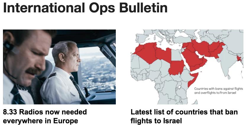 5JAN: Overflights enroute Israel, 8.33 Europe, Winter weather
