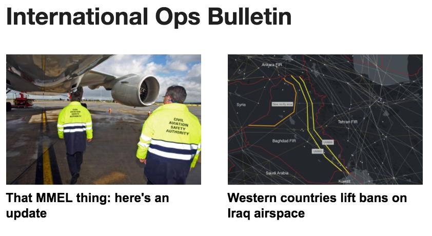 19JAN: Euro MMEL update, Iraq airspace officially open