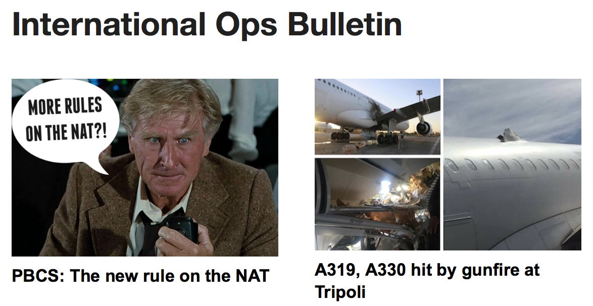 24JAN: PBCS: The new rule on the NAT, A319, A330 hit by gunfire at Tripoli