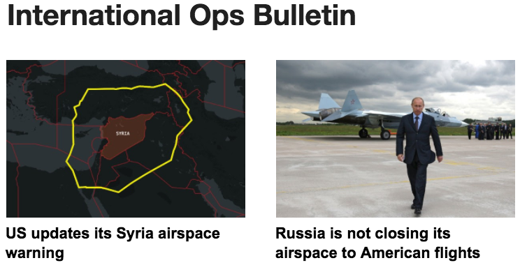 18APR: Expanded Syria airspace risk, Russia is not closing to US flights, Morocco's new Agadir ACC