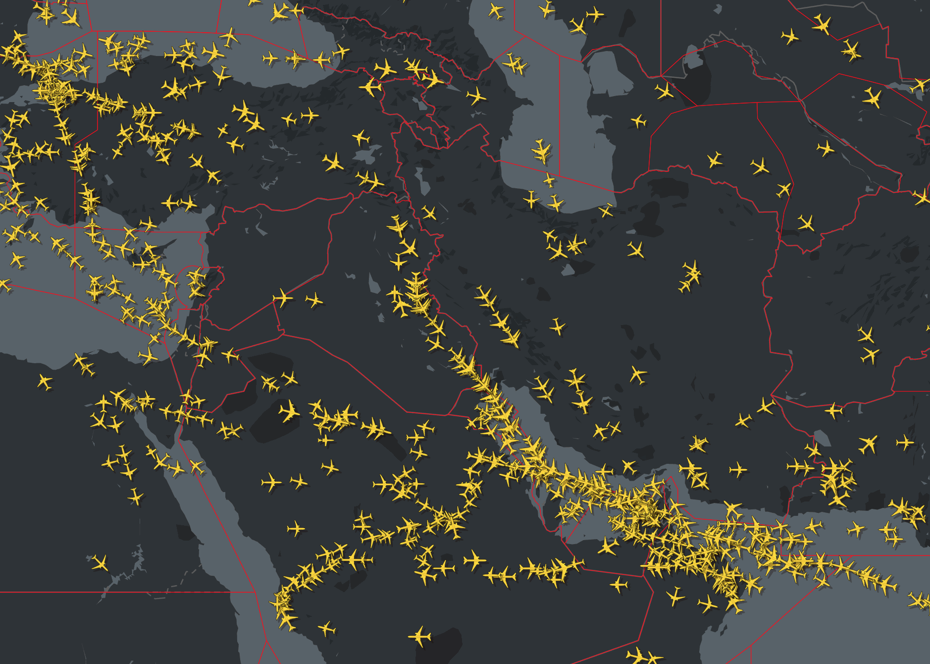 Iran and Iraq airspace restrictions